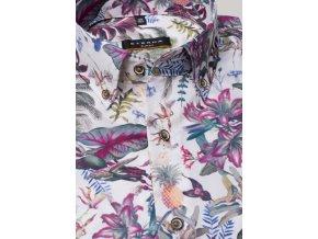 """Košile Eterna Slim Fit """"Print"""" Tropical Růžová"""