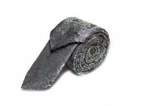 Úzká kravata s kapesníčkem Brinkleys - černostříbrná