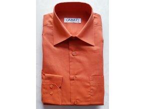 Košile AMJ Comfort fit Cihlová s dlouhým rukávem