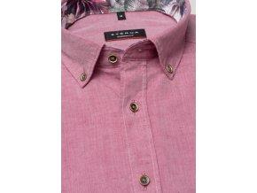 Košile Eterna Modern Fit s krátkým rukávem Lněná Růžová