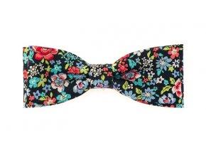 Dvojitý motýlek Avantgard Slim - modrý s květy