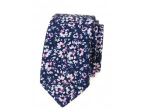 Úzká luxusní kravata Avantgard - květy