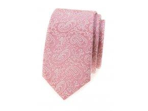 Úzká luxusní kravata Avantgard - pudrová