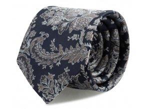Kravata s kapesníčkem Brinkleys - navy se stříbrno-hnědou výšivkou