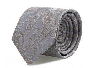Slim kravata s kapesníčkem Brinkleys - stříbrno-béžová