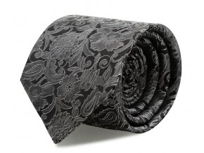 Slim kravata s kapesníčkem Brinkleys - černo-stříbrná