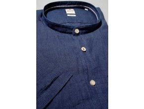Košile Pure Slim Fit s krátkým rukávem a módním stojáčkem - Lněná