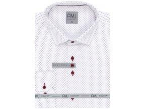 Pánská košile AMJ Comfort fit s jemným vzorem - bílá