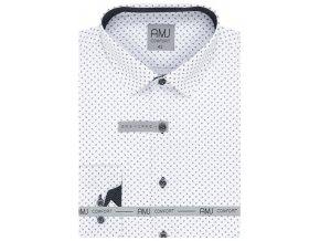 Pánská košile AMJ Comfort fit - bílá s tmavým vzorem