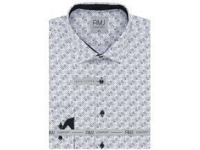 Pánská košile AMJ Comfort fit se vzorem - šedá /bílá