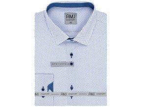 Pánská košile AMJ Comfort fit bílá s jemným modrým vzorem