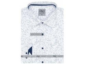 Pánská košile AMJ Comfort fit se vzorem - bílá