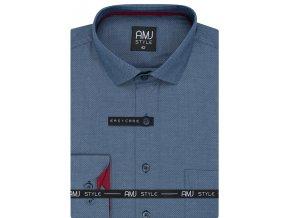 Pánská košile AMJ Comfort fit s jemným vzorem - modrá