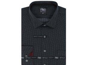 Pánská košile AMJ Comfort fit antracitová s jemným vzorem