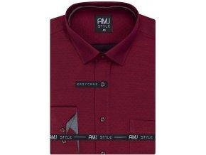 Pánská košile AMJ Comfort fit vínová s jemným tmavým vzorem