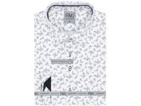 Pánská košile AMJ Comfort fit bílá s tmavým vzorem