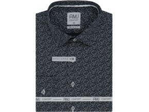 Pánská košile AMJ Slim fit černá s bílým vzorem