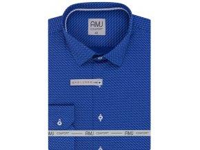 Pánská košile AMJ Slim fit modrá s jemným bílým vzorem