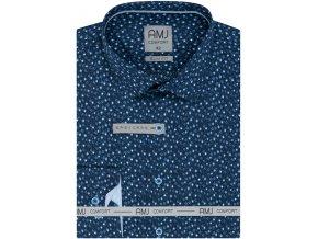 Pánská košile AMJ Slim fit vzorovaná - modrá