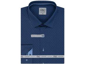 Pánská košile AMJ Slim fit s jemným vzorem - modrá