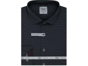 Pánská košile AMJ Slim fit s jemným vzorem - antracitová