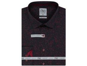 Pánská košile AMJ Slim fit černá s červeným vzorem