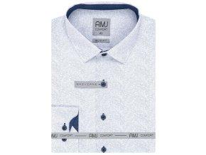 Pánská košile AMJ Slim fit vzorovaná - modrá / bílá