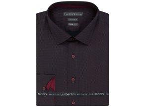 Luxusní bavlněná košile Lui Bentini Slim fit - vínová
