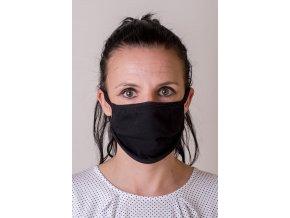 Dámská bavlněná úpletová rouška na ústa a nos dvouvrstvá s oušky z bavlny - černá