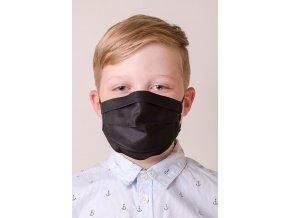 Dětská bavlněná rouška dvouvrstvá skládaná s kapsou a tvarovacím drátkem, antibakteriální - černá
