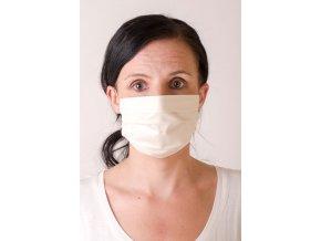 Dámská bavlněná rouška na ústa a nos dvouvrstvá skládaná, ouška z gumičky, antibakteriální - smetanová