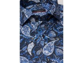 """Košile Eterna Modern Fit """"Print"""" prodlouženým rukávem Modrá"""