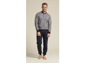Modrošedé pánské pyžamo - dlouhý rukáv