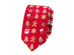 Úzká kravata Avantgard Lux - červená / perníček