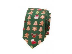 Úzká luxusní kravata Avantgard - zelená / perníček