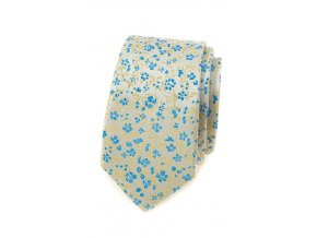 Úzká kravata Avantgard - žlutá / modrá