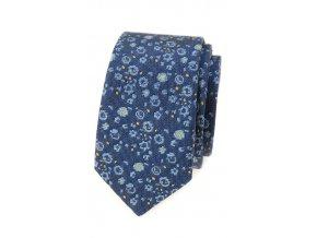 Úzká kravata Avantgard - modrá / žlutá