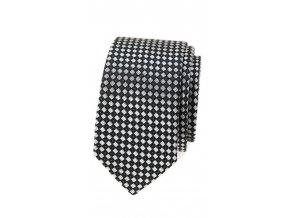 Úzká kravata Avantgard - černá / bílá