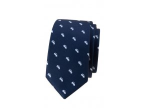 Úzká luxusní kravata Avantgard - modrá / auta