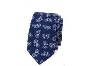 Úzká luxusní kravata Avantgard bavlněná - modá /kola