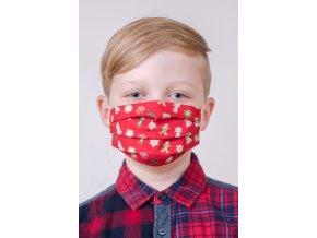 Dětská bavlněná rouška dvouvrstvá skládaná s kapsou, ouška z gumičky - perníček
