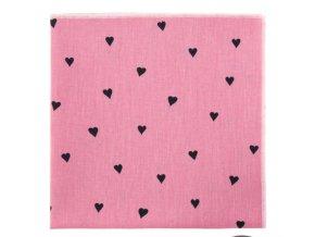 Kapesníček Avantgard LUX bavlněný - růžový / srdce