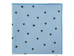 Kapesníček Avantgard LUX bavlněný - modrý / srdce
