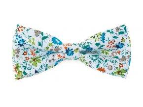 Dvojitý motýlek Avantgard bavlněný - bílý s květy