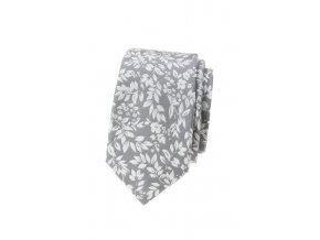 Úzká kravata Avantgard Lux - šedá s květy