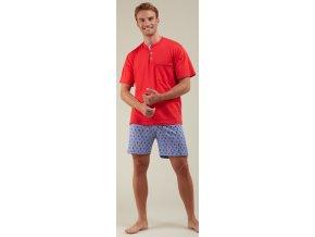 Červenomodrépánské pyžamo Šachy - krátké