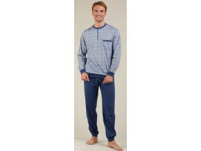 Modrošedé pánské pyžamo Šachy - dlouhý rukáv