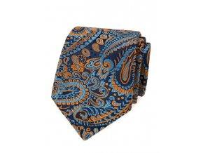 Kravata Avantgard Lux - modrá / oranžová