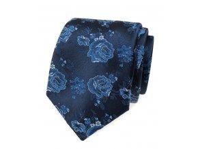 Kravata Avantgard Lux - modrá / modré růže