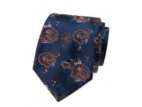 Kravata Avantgard Lux - modrá / hnědé růže